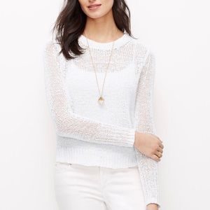 Ann Taylor white cropped open weave sweater
